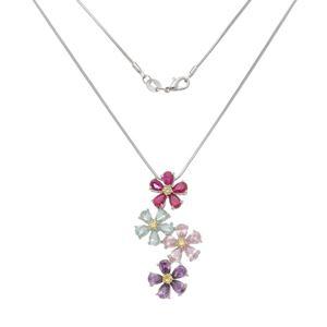 Imagem de Corrente flores com pedras coloridas - 0305299