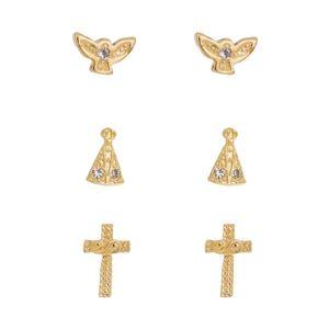Imagem de Brinco trio com Nossa Senhora e cruz - 0523659