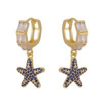 Imagem de Brinco argola click estrela zircônia azul - 0523589