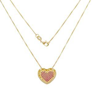 Imagem de Corrente coração com zircônia pink - 0305313