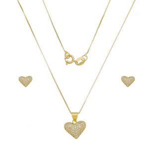 Imagem de Conjunto coração pedras zircônia - 1101024