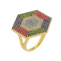 Imagem de Anel hexagonal pedras coloridas - 0106930