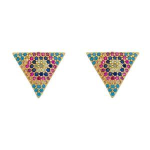 Imagem de Brinco triângulo com pedras coloridas - 0523732
