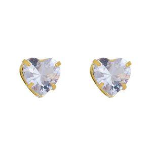 Imagem de Brinco pedra 10mm coração zircônia - 0523667