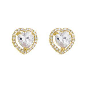 Imagem de Brinco coração com pedras zircônia - 0523637