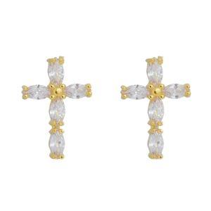 Imagem de Brinco cruz com pedras zircônia - 0523644
