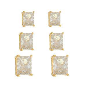 Imagem de Brinco trio pedras retângulo zircônia - 0523770