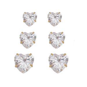 Imagem de Brinco trio pedras coração zircônia - 0523785