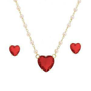 Imagem de Conjunto pedra coração vermelho - 1100210