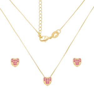 Imagem de Conjunto coração zircônia pink; 0,6cm - 1101044