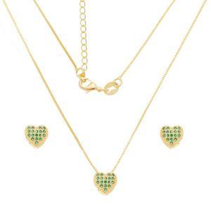 Imagem de Conjunto coração zircônia verde; 0,9cm - 1101049