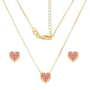 Imagem de Conjunto coração zircônia pink; 0,9cm - 1101043