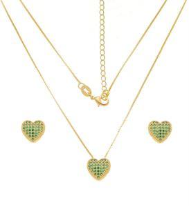Imagem de Conjunto coração zircônia verde; 1,1cm - 1101048