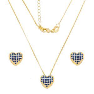 Imagem de Conjunto coração zircônia azul; 1,1cm - 1101045