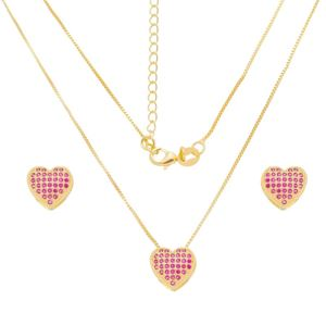 Imagem de Conjunto coração zircônia pink; 1,1cm - 1101042