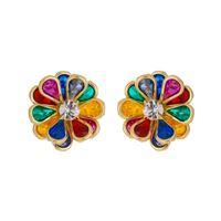 Imagem de Brinco flor com pedras coloridas - 0523794
