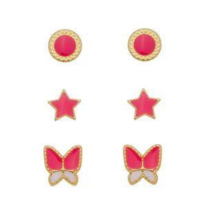 Imagem de Brinco trio estrela e borboleta pink - 0523846