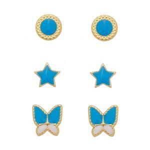 Imagem de Brinco trio estrela e borboleta azul - 0523847