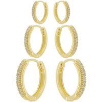 Imagem de Brinco trio argola click pedras zircônia - 0524099