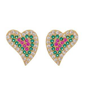 Imagem de Brinco coração colorido zircônia - 0524067 - Cores