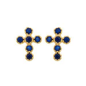Imagem de Brinco cruz zircônia azul - 0524122