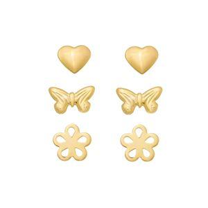 Imagem de Brinco trio coração, borboleta e flor - 0524564